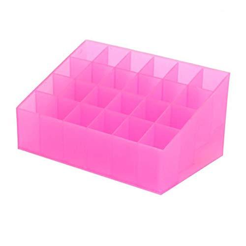 24 Grille Support de Rouge à lèvres en Plastique cosmétique Organisateur Rouge à lèvres présentoir boîte de Stockage Portable de Maquillage (Rose) FRjasnyfall