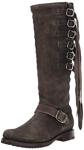 FRYE Women's Veronica Strap Tall Knee High Boot, Faded Black, 6 M US