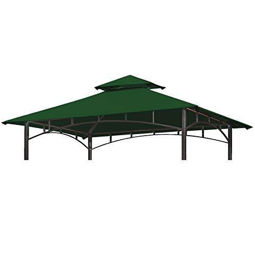 Eurmax 5FT x 8FT Double Tiered Replacement Canopy Grill BBQ Gazebo Roof Top Gazebo Replacement Canopy Roof (Forest Green)