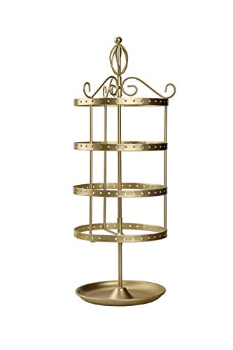 Antique 4 Tier Swivel Metal Jewelry Organizer Tower Necklace Tree Bracelet Ring Holder with Hanging Earring Display Stand - Classic Gold