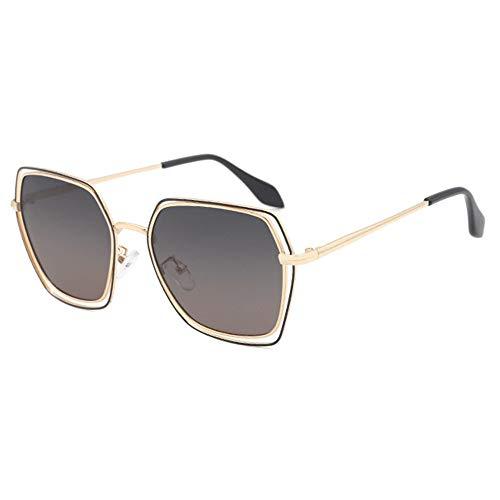 DKee Gafas de sol polarizadas poligonales para mujer, elegantes, protección UV400, montura dorada, lente degradada (color: gris)