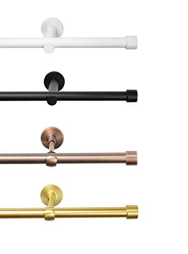 Rollmayer Metall Weiß Matt Vorhangstange/Gardinenstange Ø 19mm Rohr (160cm Crux, im Weiß Matt, 1-läufig) einfache Montage Verschiedene Größen und Endstücken. Ohne Ringe!