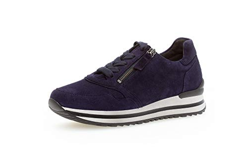 Gabor Damen Sneaker, Frauen Low-Top Sneaker,Comfort-Mehrweite,Reißverschluss,Optifit- Wechselfußbett, sportschuh weiblich,Bluette,38 EU / 5 UK