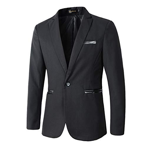 Benibos Men's Slim Fit Casual Premium Blazer Jacket (L, 937Black)