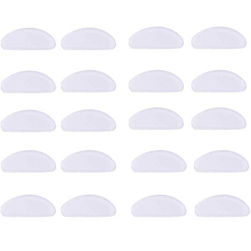 Yrlehoo 10 Paia Naselli per Occhiali autoadesivi, Cuscinetti di Naso Adesivo Antiscivolo in Silicone Morbido per Occhiali da Vista Occhiali da Sole Occhiali, 1 mm (Trasparente)