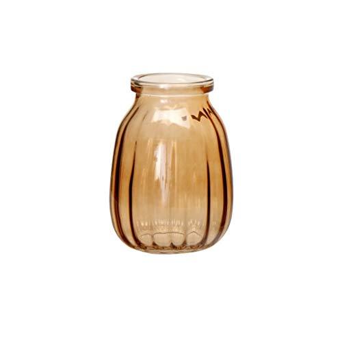 Z-W-DONG Ronde decoratieve vaas, eettafel bijzettafeltje Desktop vaas Creative transparante glazen vaas 3 kleuren Hydroponic vaas Makkelijk te gebruiken (Color : Brown)