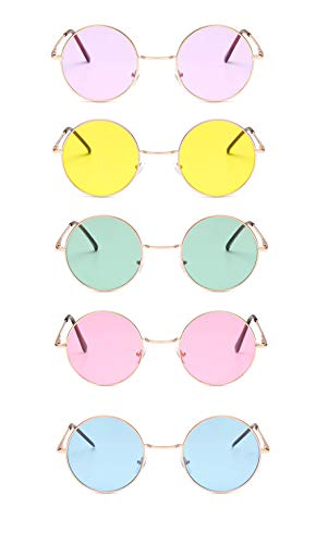 Penta Angel 5Pcs Colored Round Retro Hippie Sunglasses Vintage 60's 70's Style John Lennon Circle Glasses for Men Women Party Favors Dressing Costume Accessory