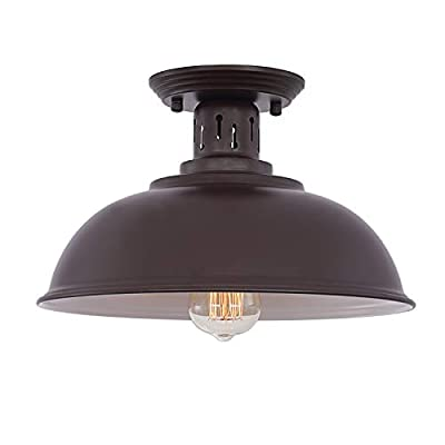 HMVPL Semi Flush Mount Ceiling Light Fixture, Farmhouse Coffee Bronze Close to Ceiling Lighting Industrial Decor Lamp for Kitchen Island Bedroom Living Room Foyer Hallway Entryway Office Closet