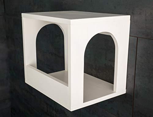Jennys Tiershop Lackierter Katzen Wandpark, handgefertigte Tiermöbel/Luxusmöbel, Katzenmöbel in vielen Ausführungen. Hier: Schlafkasten Nr. 2 weiß (4d)