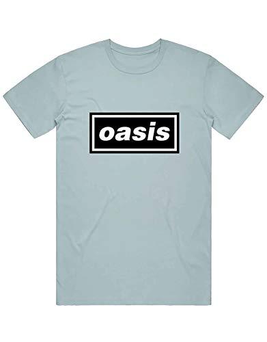 Oasis T Shirt Decca Logo Nue offiziell Herren Light Blau