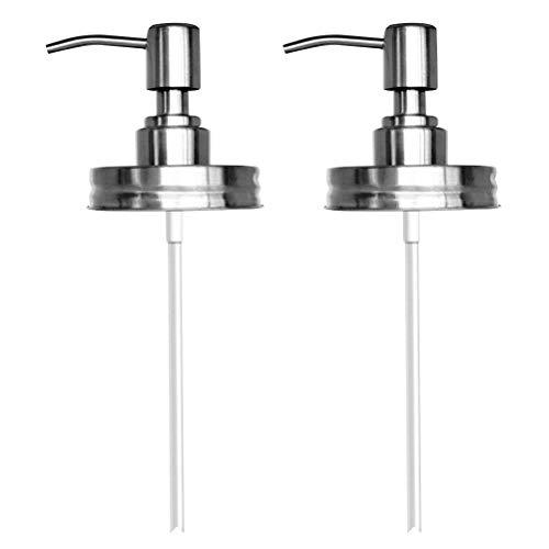 Yardwe 2 Stücke Edelstahl Einmachglas Seifenspender Deckel Rostfrei Lotionspender Pumpe für Bad oder Küche