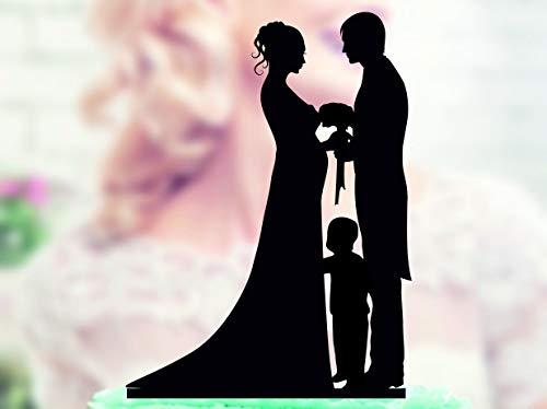Ad4ssdu4 Decoración para tarta de novia embarazada con niño, figura de novio y novia Acrilyc, decoración para tarta de boda