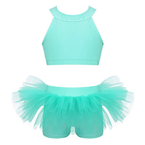 zdhoor Kids Girls Two-Piece Dancewear Yoga Practice Outfit Racer Back Crop Top with Ruffled Bottoms Set Mint_Green 14