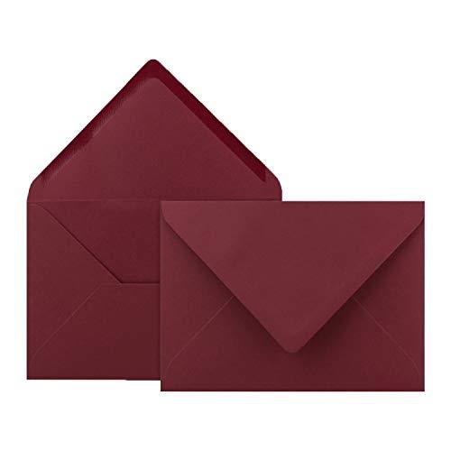 50x Brief-Umschläge in Weihnachts-Rot - 80 g/m² - Kuverts in DIN B6 Format 12,5 x 17,6 cm - Nassklebung ohne Fenster