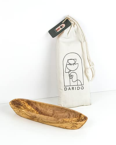 Darido Kosz na pieczywo drewno oliwkowe bagietka - rustykalna drewniana misa dekoracyjna - miska wielofunkcyjna - drewniana podłużna miska - stół bożonarodzeniowy w stylu vintage - ręcznie robiona miska - duży koszyk na chleb