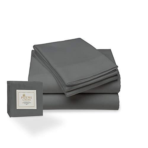 Juego de sábana de 400 conteo de hilos, 4 piezas de 100% algodón de fibra larga, lujoso suave saten conjunto de hojas 1 sábana adjustable 1 sábana plana 2 fundas de almohada (Gris oscuro - Cama 150cm)