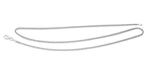 Hobra-Gold Weissgoldkette 585 - 42 – 45 – 50 – 55 – 60 CM KETTE Weissgold - Halskette MASSIV + GESCHLIFFEN – Zopfkette mit Karabiner