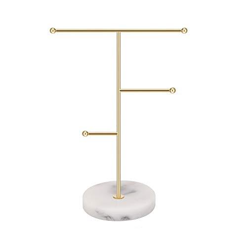 Organizador de joyas,soporte de exhibición de collar de barra en T de metal Soporte para pendientes para el hogar, estante colgante colgante con bandeja de patrón
