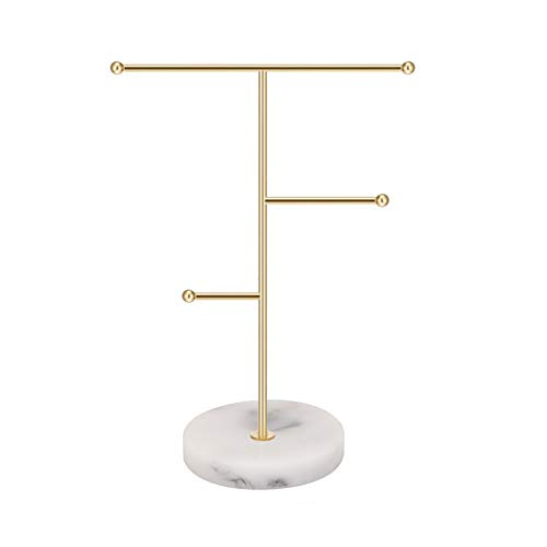 Jewelry Organizer,Metal T-Bar Necklace Display Stand Earrings Holder for Home, Hanging Pendant Rack with Marble Pattern Round Tray for Bracelets Rings Watches