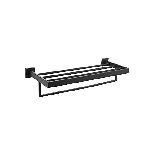 Toallero de acero inoxidable con multitoallero plegable de doble pared, color negro, longitud 60 cm