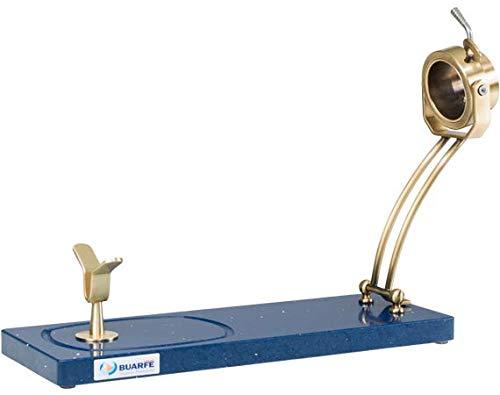 BRICOMIRAS JAMONERO Modelo JABUGO Plegable Base SILESTONE Serie Stellar Color Azul, JAMONERO Ideal para Uso DOMÉSTICO Y Profesional, Casquillo Giratorio Color Oro Elegante