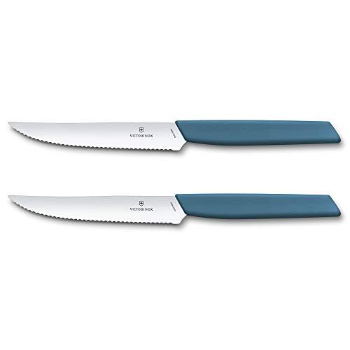 Victorinox Swiss Modern 6.9006.12W2B - Cuchillo para carne y pizza (2 piezas, filo ondulado, 12 cm, acero inoxidable), color azul