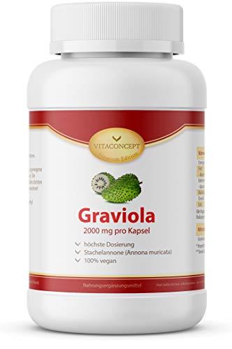 Graviola Extrakt 2000 mg I 180 Kapseln I Hochdosiertes Graviola 10:1 Fruchtextrakt I Vegan I Ohne Magnesiumstearat I Made in Germany von VITACONCEPT
