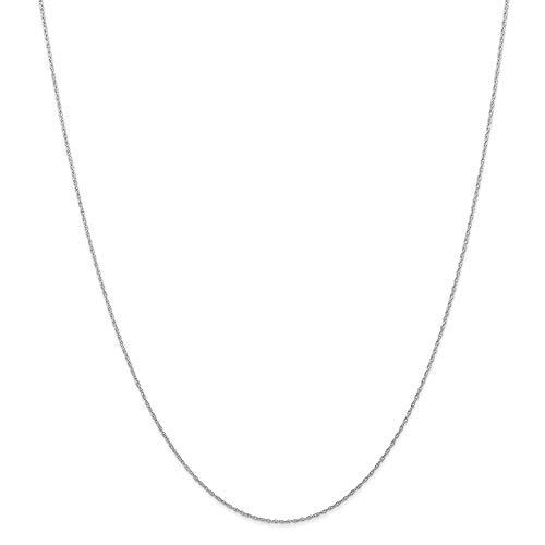 Collar de cadena de oro blanco de 14 quilates de 6 mm con cordón cardado para mujeres, 56 cm