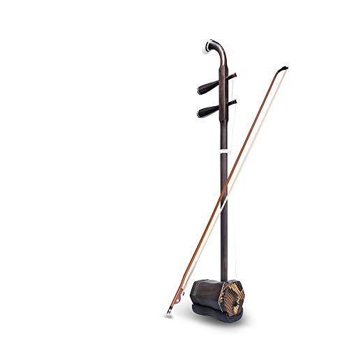 ABMBERTK Palisander Sechseckige Form Erhu Chinese, 2-saitige Geigenvioline, Huqin Saiteninstrument,mit Bogen, Brücken, Palisander