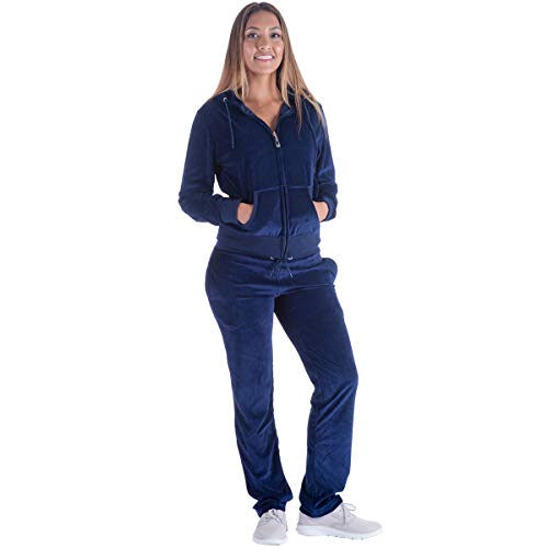 Womens Velour Tracksuit Set Soft Sports Joggers Outfits 2 Pieces Sweatsuits Zip Up Hoodies and Sweatpants (Navy, Small)