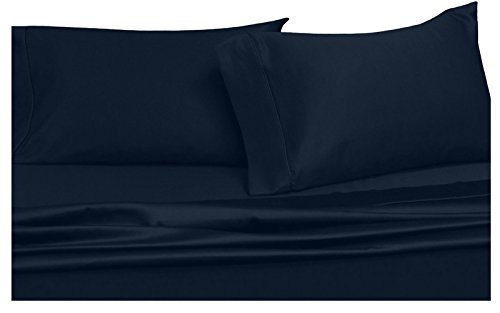 Royal Hotel Solid Navy 300-Thread-Count 4pc King Bed Sheet Set 100% Cotton, Sateen Solid, Deep Pocket