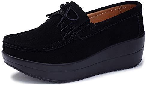 [Vocnako] レディース安全靴 ナースシューズ ウォーキングシューズ ダイエットシューズ 看護師 介護士 本革 厚底靴 履きやすい 疲れにくい 女性 用 作業靴 軽量 スニーカー 通勤 通学 ブラック 24.5cm
