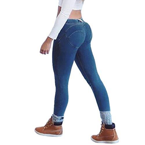 ORANDESIGNE Jeans Skinny da Donna, Pantaloni a Vita Media Slim Fit Pantaloni Push up a Matita Pantaloni Elastici Skinny Jeggings per Donna Blu S