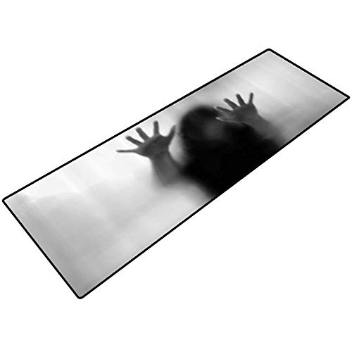 Horror House Decor Bathroom Rug Silhouette of Woman Behind The Veil Scared to Death Obscured Paranormal Photo Washable for Home Office Standing Desk Rug