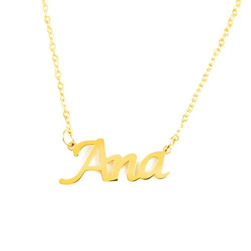 Kigu Ana Collar con Nombre - Chapado en Oro Personalizado de 18 Quilates - Cadena Ajustable
