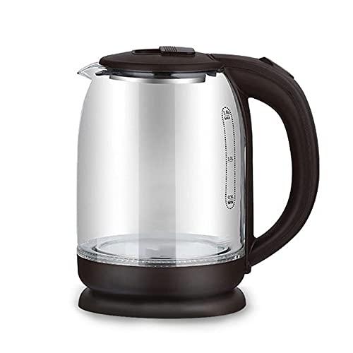 SFLRW Hervidor eléctrico, hervidor de agua caliente 1.8L, hervidor de té eléctrico con LED, vidrio de hervidor de agua con hervir rápido, cierre automático y protección contra hervir, acero inoxidable
