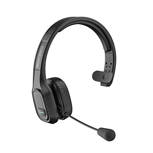 COMEXION Trucker Bluetooth Headset V5.0, Wireless Headphone with Mute Mic for Cell Phones, On Ear Bluetooth Headphone with Wireless&Wired Mode for Trucker, Home Office, Skype