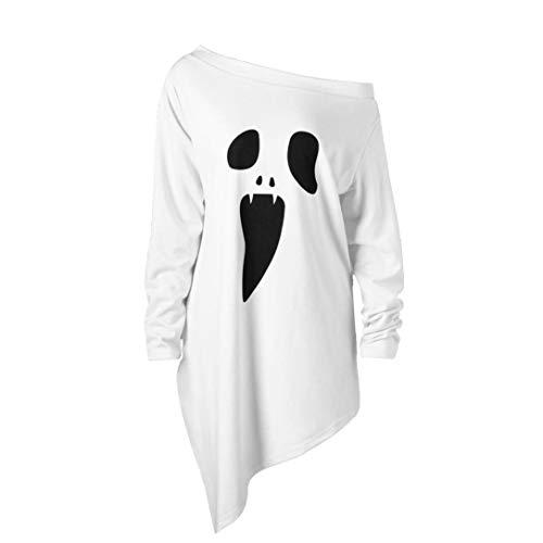 Damen Halloween Langarm Ghost Print Sweatshirt Pullover Tops Bluse Hoodie Langarm Pullover Mantel Tops