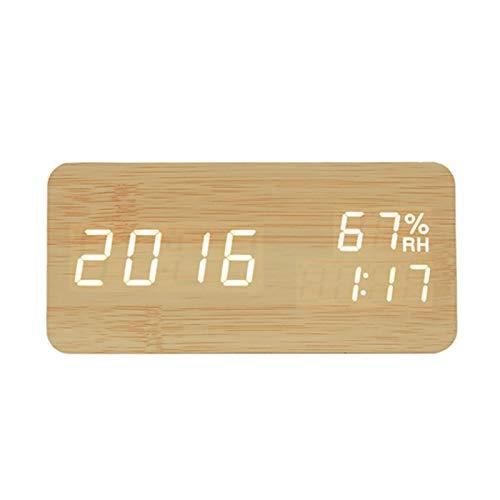 Ssbhjxb Reloj de Reloj de Alarma de Madera LED Mire el Control de Voz Digital de Madera electrónica de Madera USB, AAA Power Supply Clock Watch Decoration Despertador (Color : Bamboo Wood)