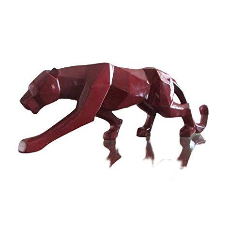 zhongzhichengcheng Estatua De La Escultura Estatuilla De Estatua De Leopardo Moderno Estilo Geométrico Abstracto Resina Pantera Animal Adorno Grande Accesorios De Decoración del Hogar