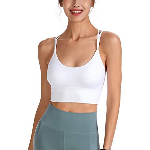 Sujetador Deportivo Informal Cuello U Color Sólido Mujer Camisola sin Mangas para Yoga Entrenamiento Físico Correr Ropa Interior Deportiva para Mujer (S, Blanco)