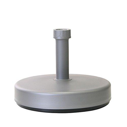 greemotion Fillable Paraplu Base - Plastic Paraplu Stand kan gevuld worden met ca. 20 l water of zand - Parasol basis voor terras, balkon en tuin, zilvergrijs