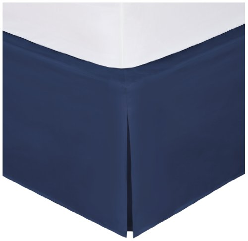 "Bed Maker's Tailored Wrap-Around Bedskirt Never Lift Your Mattress Classic 14"" Drop Length Pleated Styling, Navy, Full"