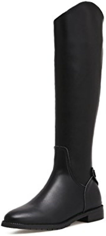 ZHZNVX Herbst und Winter neue lange lange lange Stiefel plus samt dicken flachen Stiefel stilvolle Schnalle hoher Stiefel  31175d