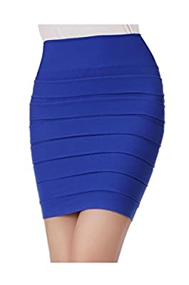 ARJOSA Women's Slim Stretchy Bandage Shirred Ruffle Mini Pencil Skirts