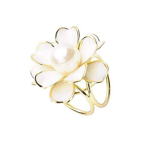 Ogquaton 1 PCS Élégant Tricyclic Camellias Soie Foulard Clip avec Perle Décor À La Mode Écharpe Boucle Anniversaire D'anniversaire pour Dames Femmes