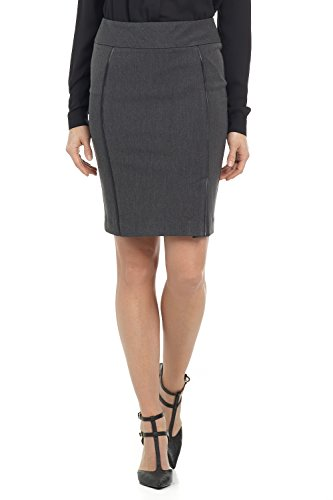 Rekucci Collection Women's Ease in to Comfort Pull-on Pencil Skirt with Piping (2,Charcoal)
