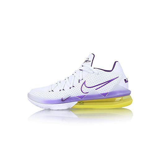 Nike Lebron Xvii Low, Zapatillas Deportivas Hombre, Blanco/Voltage Purple-Dynamic Yellow, 40.5 EU