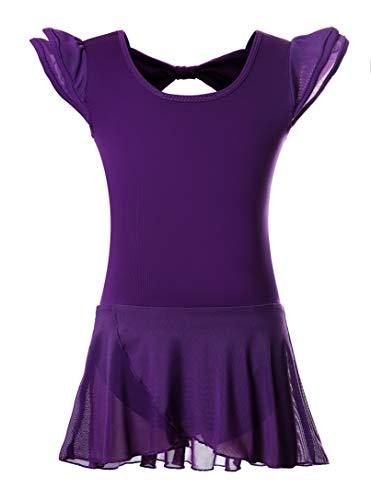 Girls' Ballet Dance Leotards with Flutter Sleeve Petal Skirt and Bowknot Back(6-8years,Dark purple)