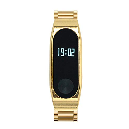 L@LILI Für Xiaomi Mi Band 2 Strap, Miband2 Replacement Strap Metal, smartwatch Smart Band Barcelet, Miband2 Smart Armband barcelet Heat Rate Monitor für Xiaomi MiBand 2,Gold
